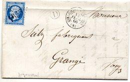 Vosges - LAC Affr N° 22 Obl GC 1655 - Càd Type 15 Girecourt-s-Durbon + Boite Rurale D (= Gugnecourt) 1866 - Marcophilie (Lettres)