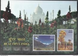 INDIA, 2017, Beautiful India,  Lahaul, Mountains, Flowering Tree,Taj Mahal,  Miniature Sheet Of 2v, MNH, (**) - Inde