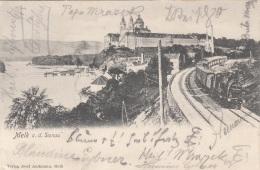 MELK A.d. Donau (NÖ) - Schiffsanlegeplatz, Westbahn, Stift, Postablagestempel?, Gel.1903? Von Melk Nach Leoben, Sehr ... - Melk