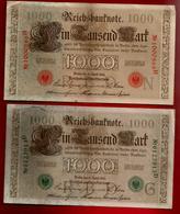 Lot De 2 - Billet De Banque Allemagne Reichsbanknote 1000 Tausend Mark 21-04-1910 - 1 Rouge , 1 Vert - [ 2] 1871-1918 : Impero Tedesco