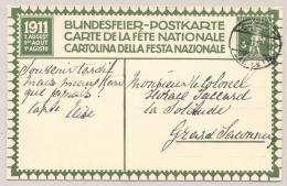 Schweiz - 1911 - 5c Tellknabe - Bundesfeier Postkarte Sent From Geneve - Stamped Stationery