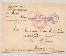 Schweiz - 1917 - Konstanz Censored POW-cover From Interné Belge Neuchatel To Anvers / België - Documenten