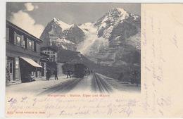 Station Wengernalp - Bahnstempel - Vignette Jungfraubahnen Bauleitung - 1902      (80319) - Gares - Avec Trains