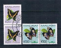 Malawi Schmetterlinge Senkr.+ Waagr. Paar Gestempelt - Malawi (1964-...)