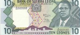 BANK OF SIERRA LEONE. 10 LEONES . 27 APRIL 1988 . N° A/20 503593 .. 2 SCANES - Sierra Leone