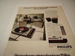 ANCIENNE PUBLICITE ELECTROPHONE DE  PHILIPS 1971 - Other