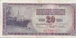 NARODNA BANKA YUGOLAVIJE - 20 DINARA - 12 VIII 1978 . N° DO 7381474.. 2 SCANES - Yugoslavia