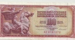 NARODNA BANKA YUGOLAVIJE - 100 DINARA - 16 V 1988 . N° BZ 8191072.. 2 SCANES - Yugoslavia