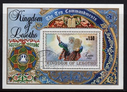 Lesotho 1984 Easter - The Ten Commandments Fine Used Mini Sheet. - Lesotho (1966-...)