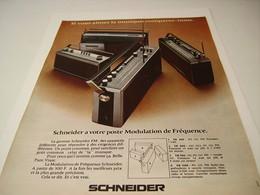 ANCIENNE PUBLICITE POSTE RADIO SCHNEIDER 1971 - Other