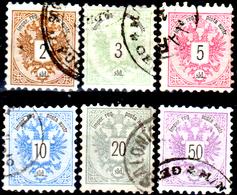 Levante-Austriaco-32 - 1883-86 - Y&T N. 8/13 (o) - Senza Difetti Occulti. - Oriente Austriaco