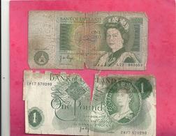 2 BILLETS DE 1£ POUND . TRES MAUVAIS ETAT  .. 2 SCANES - 1952-… : Elizabeth II