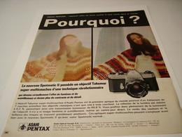 ANCIENNE PUBLICITE APPAREIL PHOTO  ASAHI PENTAX  1971 - Photography