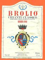 étiquette + Collerette De Vin Italie - Italia Vino Chianti Classico Brolio Rioserva 1986 - 75 Cl - Etiketten