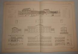 Plan De La Halle Aux Grains  Du Roi Maximilien à Munich, Bavière. 1869 - Public Works