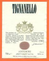 étiquette De Vin Italie - Italia Vino Tignanello Antinori 1985 - 75 Cl - Etiketten