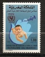 Maroc 1987 N° 1038 ** Survie De L'enfant, Sante, Médecine, Vaccination, Bébé, Main De Fatma, UNICEF, Seringue, Logo - Morocco (1956-...)