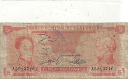 VENEZUELA - 5 BOLIVARES . 21-9-1989 . N° A32137101 . ECRITURE AU STYLO  .. 2 SCANES - Venezuela