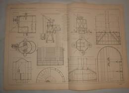 Plan Du Grand Pont De Mezzanacorti Sur Le Pô En Italie. Détails Des Caissons Et Appareils De Fondations. 1869 - Public Works