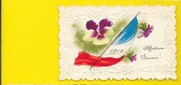 Très Belle Carte Peinte à La Main 1915 Gaufrée écrite De Barlin (62) - War 1914-18