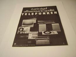 PUBLICITE AFFICHE HIFI TELEFUNKEN   1970 - Other
