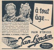 Ancienne Publicite (1954) : Pain D'Epices VAN LYNDEN, A Tout âge..., Grand-mère, Petite Fille, Saint-Ouen - Publicités