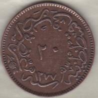 Turquie . 20 Para AH 1277 Année 4 . Sultan Abdul Aziz .KM# 701 - Turquie