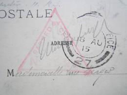 1915 BASILIQUE D'ALBERT Cachet Militaire Triangle Rouge Censure PASSED BY CENSOR  FIELD POST OFFICE 27 MERGER HORTES - Autres Communes