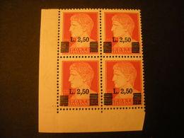 LUOGOTENENZA - 1945, Francobollo N. 254 Soprast. Quartina, Sass N. 523, MNH** LUSSO OCCASIONE - 5. 1944-46 Luogotenenza & Umberto II