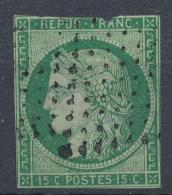 N°2 VERT FONCE ETOILE. - 1849-1850 Ceres