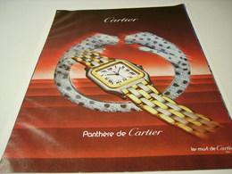 ANCIENNE PUBLICITE MONTRE CARTIER PANTHERE 1985 - Bijoux & Horlogerie