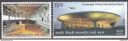 INDIA, 2017,  CHHATRAPATI SHIVAJI International Airport,  Aircraft,, Set 2v, Complete,  MNH(**) - Inde