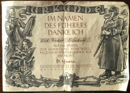 Urkunde -Spende Für Woll-Wintersachen Für Die Front-Weihnachten 1941 - 1939-45