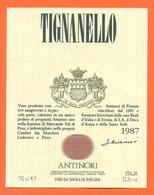étiquette De Vin Italie - Italia Vino Tignanello 1987 Antinori - 75 Cl - Etiketten