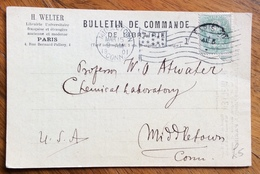 FRANCIA BULLETIN DE COMMANDE DE LIBRAIRIE DA PARIS A MIDDLETOWN  U.S.A. IN DATA 15/3/1901 - 1879-08 Principato