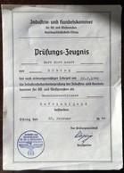 Prüfungs-Zeugnis-Gesellenbrief-1940-IHK Ost-u.Westpreussen-Maschinenschlosser - 1939-45