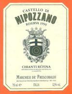 étiquette + Dos De Vin Italie - Italia Vino Chianti Rufina Nipozzano 1990 - 75 Cl - 2 Scans - Etiketten