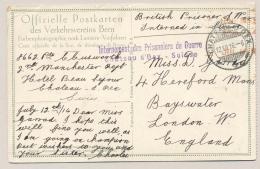 Schweiz - 1916 - POW-card British Prisoner Sent From Chateau D'Oex To London / UK - Documenten