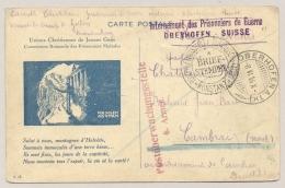 Schweiz - 1916 - Multi-Censored POW Postcard From Oberhofen To Cambrai / Deutschland - Documenten