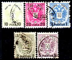Levante-Austriaco-36 - 1888 - Y&T N. 15/19 (o) - Senza Difetti Occulti. - Oriente Austriaco