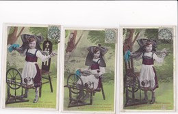 Lot 3 Cpa Petite Fille Rousse Le Rouet Alsacien Propagande Pour L Alsace Francaise 1907 - Enfants