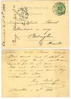 Entier Postal D'Aerschot Déc.1884 Obl Arrivée Auderghem Chemin De Fer - Railway