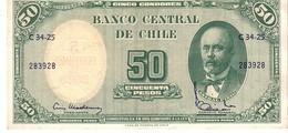 Chile P.123  50 Pesos 1960-61 Au - Chile