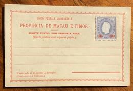 PORTUGAL PROVINCIA DE MACAU E TIMORINTERO POSTALE CON RISPOSTA PAGATA 30 Reis  Nuovo Perfetto - 1879-08 Principato
