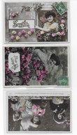 CPA Série De 3 Cartes De Bonne Fête Et Fleurs - Fêtes - Voeux