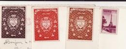 ERRINNOPHILIE 75 BI MILLENAIRE DE PARIS -- 4 Vignettes Sur Cartes Postales - France
