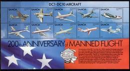 Samoa 1983 Bicentenary Of Manned Flight Aeroplanes Sheetlet Of 10, MNH, SG 638 - Samoa