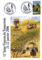 CP  Avec Cachet De La 11 ème   St Vincent Du Tonnerrois MOSLOMES  22/01/2006 - Vins & Alcools
