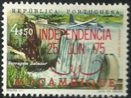 Mozambique Moçambique 1975 Salazar Dam  Aircraf Plane  Overprinted INDEPENDENCIA Canc - Factories & Industries