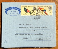 UCCELLI SU AIR LETTER  DA BRITYSH HONDURAS FOR ROMA ITALY  BAKING POT 17/8/68 - 1879-08 Principato